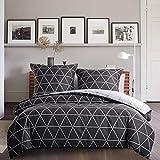 Biancheria da letto a quadretti, 135 x 200 cm, grigio e bianco, 2 pezzi, set copripiumino da 2 pezzi, con chiusura lampo, triangoli geometrici, in microfibra, moderno e reversibile