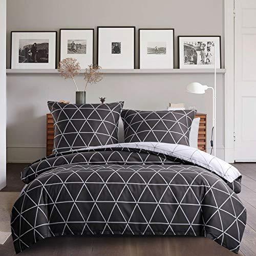 Juego de ropa de cama con triángulos 135 x 200 4 piezas, funda de edredón reversible gris y blanco, diseño de cuadros geométricos de microfibra, juego de cama moderno Exztra suave con cremallera