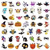 Qpout Tatuajes temporales de Halloween para niños, 48 hojas pegatinas de tatuajes de dibujos animados, Calabaza, murciélago, bruja fantasma calavera cara brazo mano tatuajes regalos, decoración