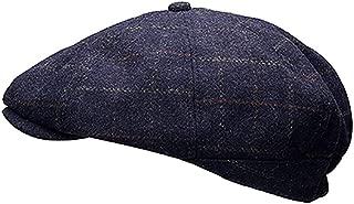 Men Wool Tweed Pane Peak Newsboy Cap Hat