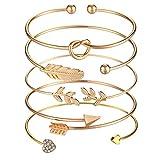 SOFTONES 5pcs Bangle Gold Bracelets for Women Girls Heart|Olive...