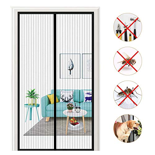 HXCD Magnetic Fly Screen Door Walk Through Screen Door Anti Mosquito Bugs Patio Door for Keep Bugs Fly out - Black 160x220cm(63x87inch)
