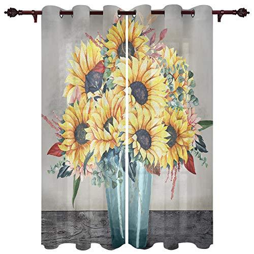 "USOPHIA Grommet Semi Sheer Window Treatment,Sunflower in A Vase Living Room Bedroom Window Drapes 2 Panel Set, 40"" x 63"""