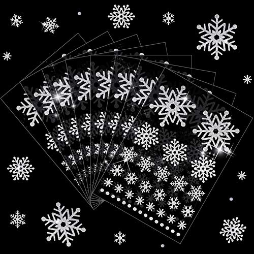 8 Sheets 312 Pieces Christmas Snowflake Decoration Stickers Silver Glitter Snowflake Stickers Labels Assorted Size Dot Snowflake Glitter Stickers for Home, Bar, DIY and Office