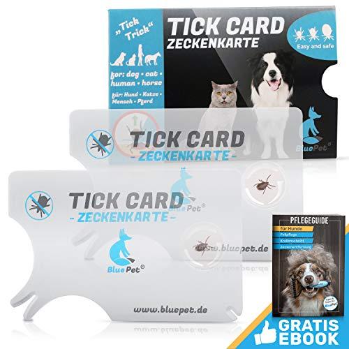 Bluepet® 2X Zeckenkarte mit Lupe im Scheckkartenformat | Zeckenentferner zur Entfernung von Zecken & Nymphia bei Mensch und Tier | Tick Card als erste Hilfe für Hund & Katze im Haus (2X Set)
