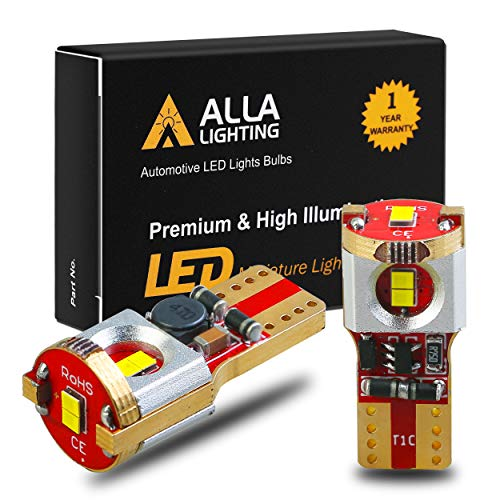 Alla Lighting Newest 194 LED Bulbs Super Bright T10 175 168 2825 W5W ZS SMD 12V LED Bulbs for Car License Plate Tag Interior Map Dome Trunk Courtesy Lights, 6000K Xenon White