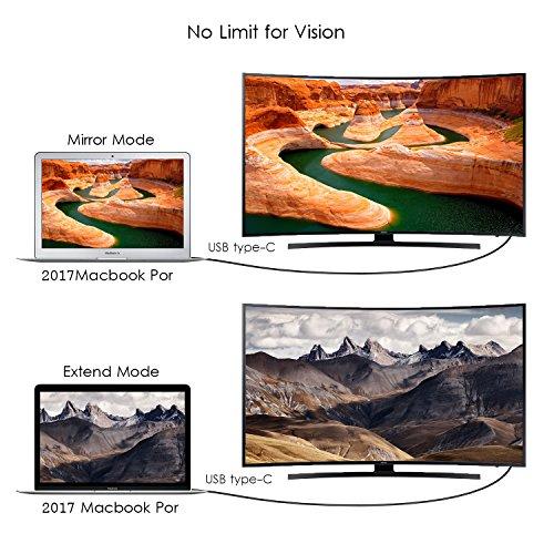 USB C auf DVI (24 + 1) Kabel, angmno UCTD020 USB3.1 Type-C/Thunderbolt 3 auf DVI 6FT schwarzes Kabel, unterstützt DVI 4kx2k @ 30HZ für MacBook 2016, Chromebook Pixel MacBook Pro 2017 / iMac