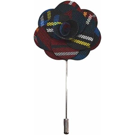 Dark Green Tartan Handmade Flower Lapel Pin, Buttonhole, Corsage, Boutonniere
