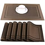 Artand Placemats, Heat-Resistant Placemats Stain Resistant Anti-Skid Washable PVC Table Mats Woven Vinyl Placemats, Set of 4 (Brown)