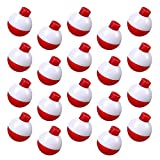 Syhood 50 Pieces 1 Inch Fishing Bobbers Float Bobbers Push Button Round Buoy Floats for Fishing Tackle Accessories (Red White)