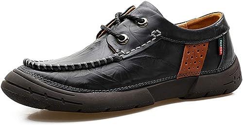 Xuyaowzr Chaussures Chaussures en Cuir Vintage Chaussures à Semelle Souple pour Hommes,noir,44  livraison gratuite et rapide disponible