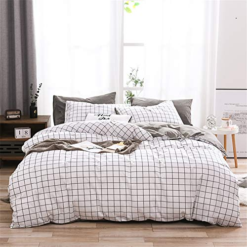 Geometric Double Duvet Covers Set Reversible Bedding Set Cotton White Black Grid Design 3 Pieces-1 Quilt Cover with Zip and 2 Pillow Shams without Comforter