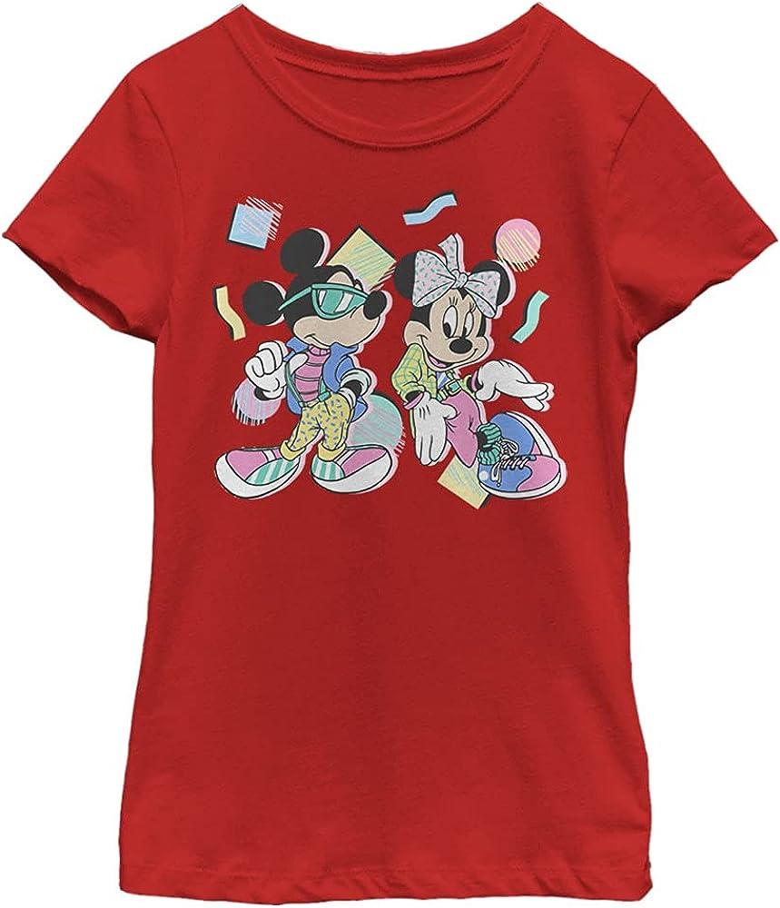 Disney Characters 80s Minnie Mickey Girl's Solid Crew Tee