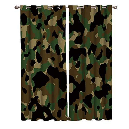 2er Set Verdunklungsvorhang Khaki Braun Schwarz Grün Camouflage-Muster Ösenvorhang Soft Blickdicht Vorhang Wärmedämmung und Geräuschreduzierung für Schlafzimmer Wohnzimmer(140x215 cm x2)