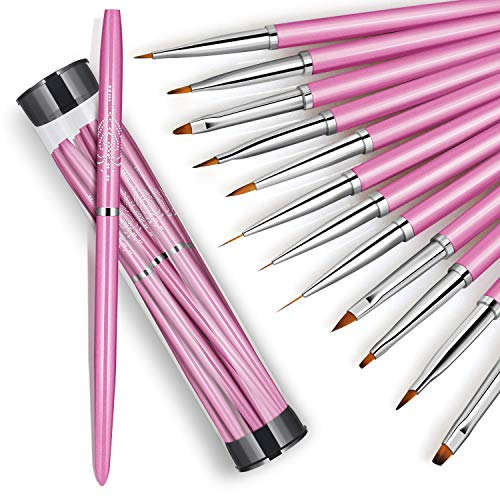 Juego de 12 pinceles para arte de uñas, diseño de uñas, lápiz de dibujo, línea plana de degradado, gel UV, acrílico, herramientas de manicura, con botella de almacenamiento