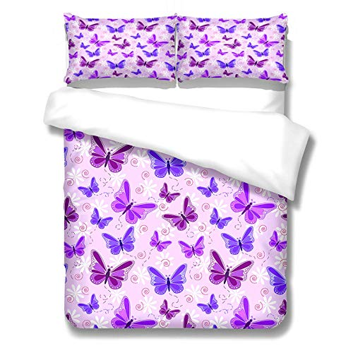 3-Piece Set Of Colorful Butterfly Polyester Duvet Cover 3D Digital Printing Bedding The Realistic Effect Is Suitable For Hotels And Hotel Quilts