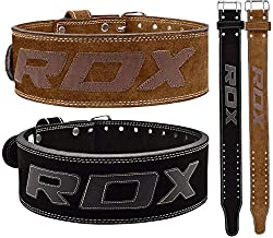 "RDX Weight Lifting Belt for Gym Powerlifting Training | Approved by IPL and USPA | 4 ""leather double prong belt for deadlifts, bodybuilding, weightlifting & weight training back support (MULTIPLE WAY)"