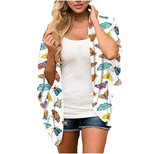 AMhomely Tops de verano para mujer, moda para mujer, manga media, estampado de chifón, para playa, sueltos, talla grande