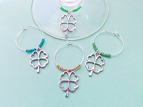 St. Patrick's Day Shamrock themed Wine Charms for the Irish and Ireland lover in your life, St. Patricks Day gift. Includes all shamrock wine charms with different beading colors