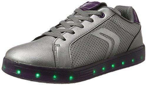 Geox Mädchen J KOMMODOR Girl A Sneaker, Silber (Dk Silver/Prune), 41 EU