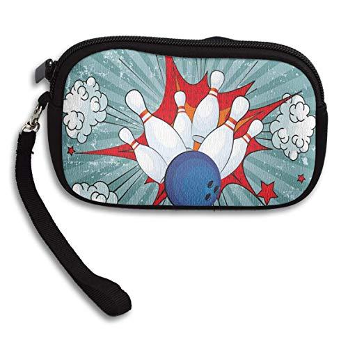 Coin Purse,Bowling Party Retro Ball Crash Pop Art Neopren Armband Brieftasche, Premium Reißverschluss Clutchs Für Erwachsene Teenager Kinder,15x9.5x2cm