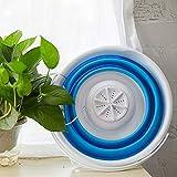 HG-JIAJUR - Mini lavadora portátil turbo con bañera plegable compacta ultrasónica, lavadora, ligera, de viaje, alimentada por USB, acampar, apartamentos, dormitorios, viajes de negocios, ropa (azul)