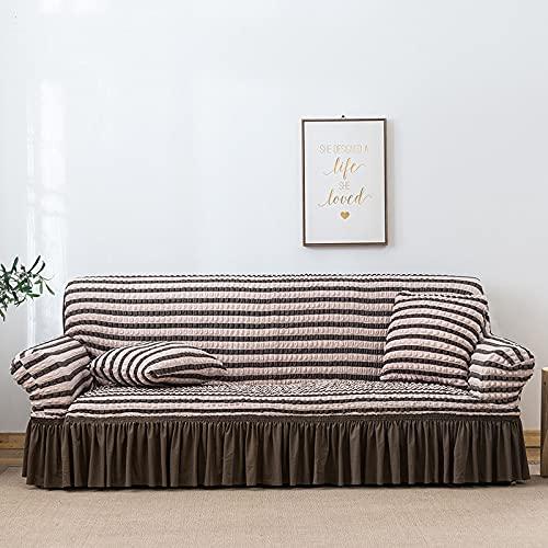 PPOS Colores Seersucker Funda de sofá para Sala de Estar Sofá Falda Antipolvo Funda Suave única para sofá Funda de sofá A1 1 Asiento 90-140cm-1pc