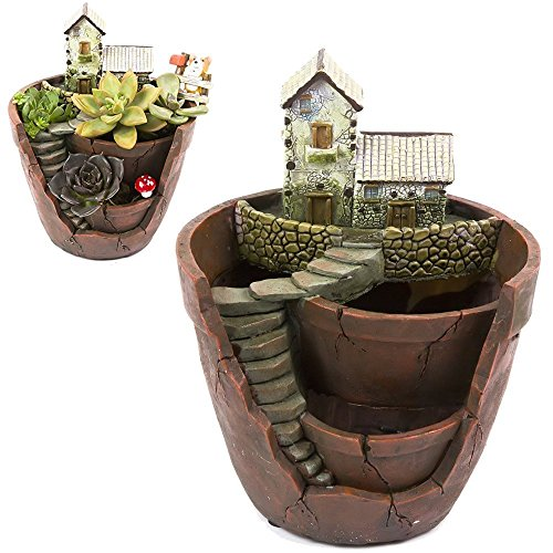 Xueliee Creative Plants Pot Flower Plants Succulent DIY Container Decorated with Mini Hanging Fairy Garden and Sweet House for Holiday Decoration and Gift (A1)