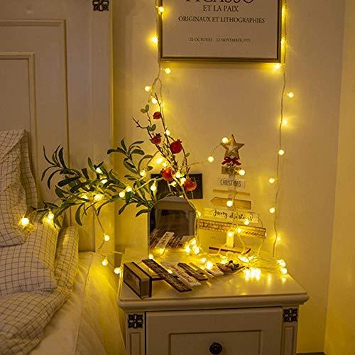 Cadena de luces LED USB/pilas con forma de bombilla pequeña con forma de hada para interior dormitorio, patio, jardín, decoración de hadas, decoración de Navidad, luces de luciérnaga (color cálido)