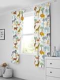 Bloomsbury Mill - Aventura safari – animales de la jungla – Par de cortinas con alzapaños para niños – 168 cm x 183 cm