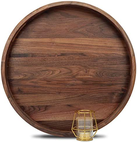 MAGIGO 20 Inches Extra Large Round Black Walnut Wood Ottoman Tray with Handles Serve Tea Coffee product image