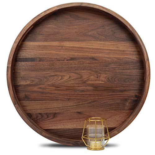MAGIGO 20 Inches Extra Large Round Black Walnut Wood Ottoman Tray with Handles, Serve Tea, Coffee or Breakfast in Bed, Classic Circular Wooden Decorative Serving Tray