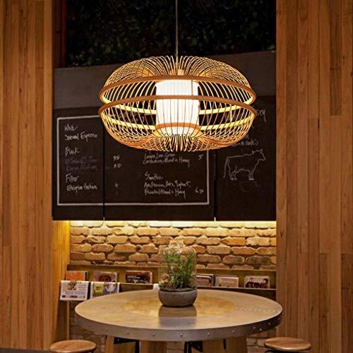 Kaper Go Lámpara colgante de estilo moderno de madera E27 Enchufe creativo Sala de estar Comedor Restaurante Estudio Lámpara colgante Pantalla de acrílico Personalidad Redonda Decorativa Iluminación d