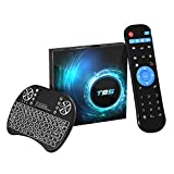 Android TV Box,Android 10.0 TV Box 4GB RAM / 32GB ROM H616 Quad Core 64 bits, Soporta 2.4G + 5G Dual WiFi BT5.0 6K 3D H.265 Smart TV Boxes con Mini Teclado inalámbrico retroiluminado