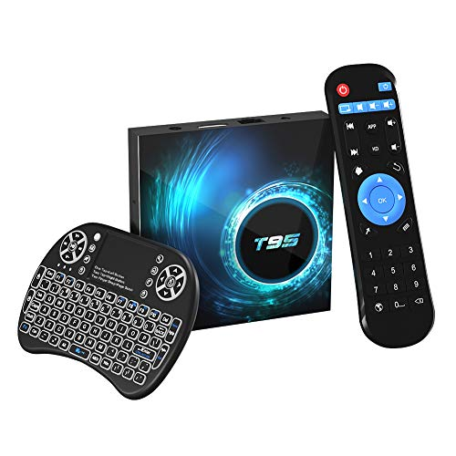 Android TV Box,T95 Android 10.0 TV Box 4GB RAM/32GB ROM H616 Quad Core 64 Bits, Supports 2.4G+5G Dual WiFi BT5.0 6K 3D H.265 Smart-TV-Boxen mit kabelloser Mini-Tastatur mit Hintergrundbeleuchtung