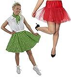 Disfraz de polka para mujer, falda de lunares verde con bufanda a juego y falda roja (verde con puntos blancos y falda roja)