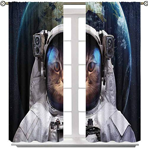 Aishare Store Curtain Lights, Astronaut Cosmonaut Suit Kitty with Planet Earth Backdrop in Galaxy, 63 Inches Long Room Darkening Window Curtains for Living Room(2 Panels)