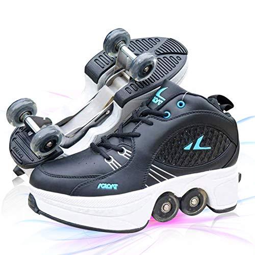 Zapatos con Ruedas Dobles para Niños Y Niña Automática Calzado De Skateboarding Deportes De Exterior Deformación 4 Rueda Patines En Paralelo,Negro,EU 40(US 8.5)