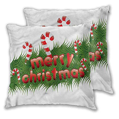 Christmas Pillowcase Lightweight, 26 x 26 Inch Candy Canes Garland Room Decoration Christmas Decoration Set of 2