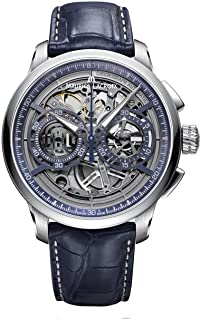 Maurice Lacroix Masterpiece Chronograph Skeleton 45mm Watch | Grey/Blue Leather
