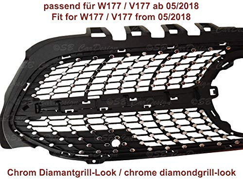 Diamantgrill Folien Sticker für Mercedes A-Klasse W177 V177 AMG Grillaufkleber (Chrom)