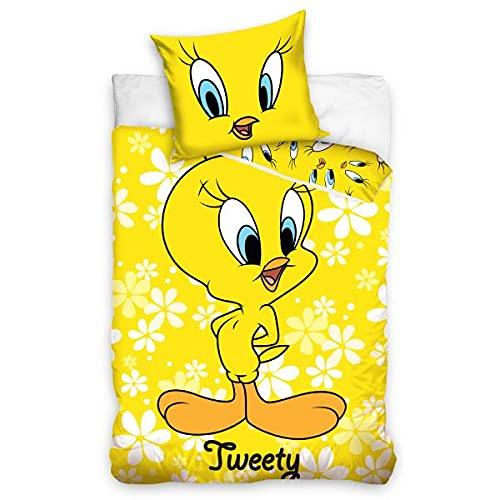 Warner Bros - Funda nórdica Looney Tunes Titi, amarillo, 100 x 135 cm, cuna de bebé, 100% algodón