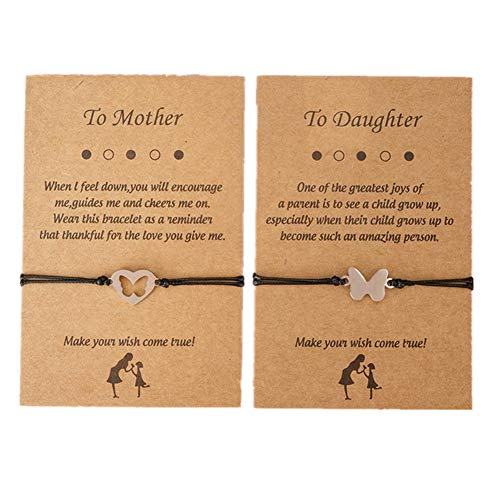 2 uds, Pulseras para madre e hija, pulseras de corazón de mariposa a juego, joyería para mamá y yo, regalo para mujeres, mamá, hija, día de la madre