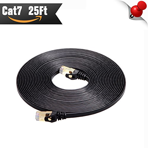 Cat 7 Shielded Ethernet Patch Cable 25 ft Black( Highest Speed Cable )Cat7 Flat Internet Network Cable with Snagless RJ45 Connector for Modem, Router, LAN, Computer