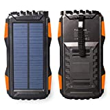 Solar Power Bank 25000mAh, Friengood Portable Solar Phone Charger External Solar Powered Battery Charger with Dual USB and LED Flashlights for iPhone, iPad, Android Cellphones and More (Orange)