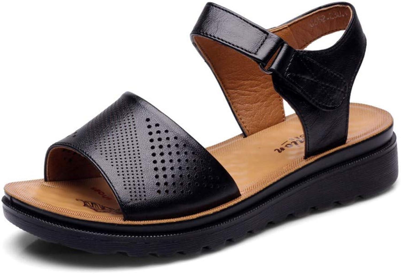 GWStiefel Sandalen Für Damen,schwarznatural Leather Vintage Handmadewedge Sohle Rückengurt Open Toe Mode Lssig Komfortabel Elegante Damen Sommer Outdoor Schuhe
