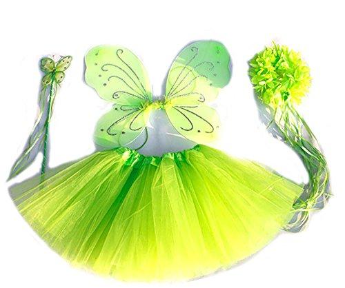 "Tante Tina Costume Bambina ""Farfalla Set di 4 Pezzi – con Ali da Fata o Farfalla – Verde con coroncina"