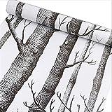 HOYOYO 17.8 x 118 Inches Self-Adhesive Shelf Liner, Self-Adhesive Shelf Liner Dresser Drawer Paper Wall Sticket Home Decoration, Black Tree