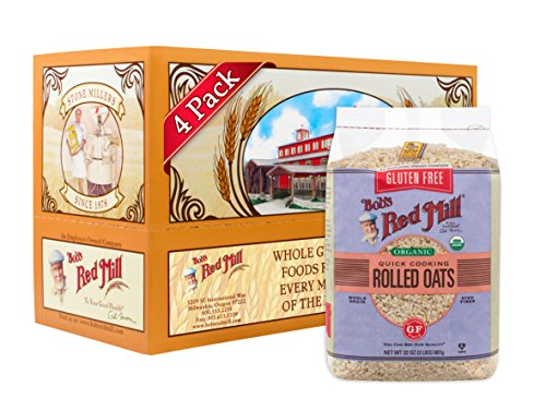 Bob's Red Mill Gluten Free Organic Quick Cooking Oats, 32 Ounce (Pack of 4)