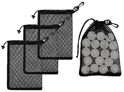 Mesh Drawstring Bag With Carabiner Clips - Set of 4